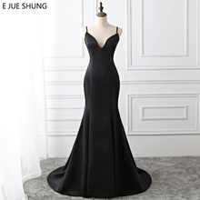 E JUE SHUNG Black Simple Mermaid Evening Dresses Long 2019 Backless Button Evening Gowns Formal Dresses robe longue Real Dress cheap V-Neck Sweep Train Spaghetti Strap Sleeveless Satin Floor-Length Natural Formal Evening Polyester Trumpet Mermaid 103A