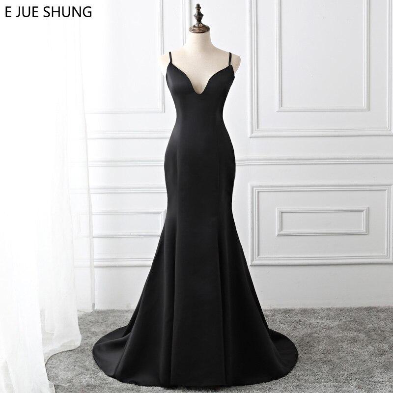 Abendkleider Nett E Jue Shung Schwarz Einfache Meerjungfrau Abendkleider Lange 2019 Backless Taste Abendkleider Formale Kleider Robe Longue Echt Kleid Hohe Belastbarkeit
