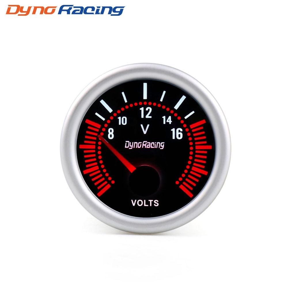 """Dynoracing """" 52 мм дымовая линза Boost gauge бар psi вакуумная температура воды Температура масла пресс вольтметр уровень топлива Тахометр Датчик Оборотов - Цвет: Voltmeter"""