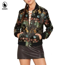 Women Bomber Jacket 2016 Spring Autumn Coats Plus Size Baseball Jackets Women Tops Floral Print Long Sleeves Female Jacket