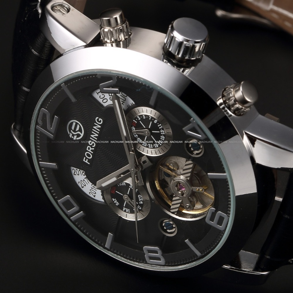 Classic Auto Mechanical Watch Tourbillon Stainless Steel Case Leather Strap Black Dial Date Year Month Display Men Wristwatch