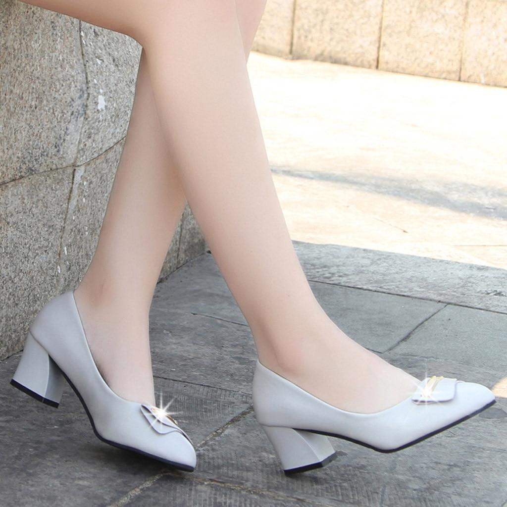 Vogue Belle Pointu Bureau noir En Talon Beige Dame Feminino Chaussures Métal Printemps Pompes Orteil Femmes Sapato Carré rqxUTBr4