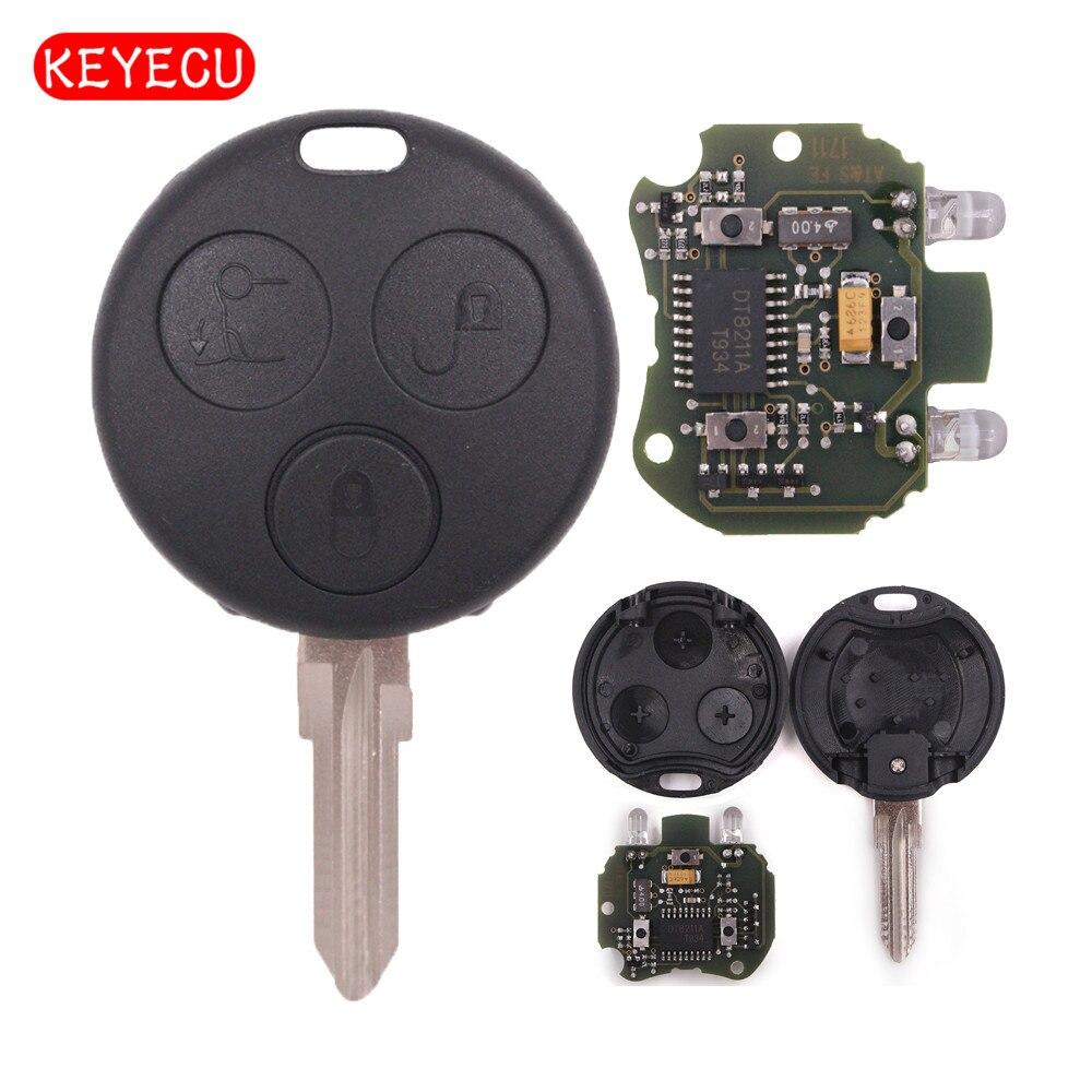Clé de voiture à distance Keyecu Fob 433 MHz pour Smart Fortwo Forfour Roadster City Passion 2000-2005 avec 2 lumières infrarouges