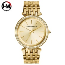 נשים Rhinestones שעונים למעלה מותג יוקרה עלה זהב יהלומי עסקי אופנה קוורץ עמיד למים שעוני יד Relogio Feminino