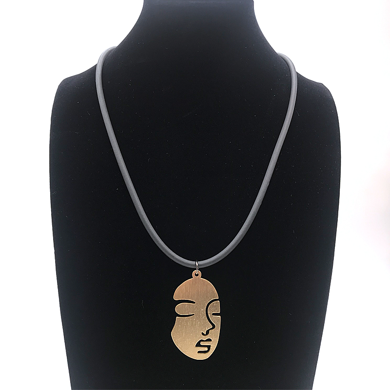 Купить с кэшбэком YD&YDBZ New Women Face Pendant Necklace Female Simple Necklaces Harajuku Gothic Statement Necklace Jewellery Soft Chains Leather