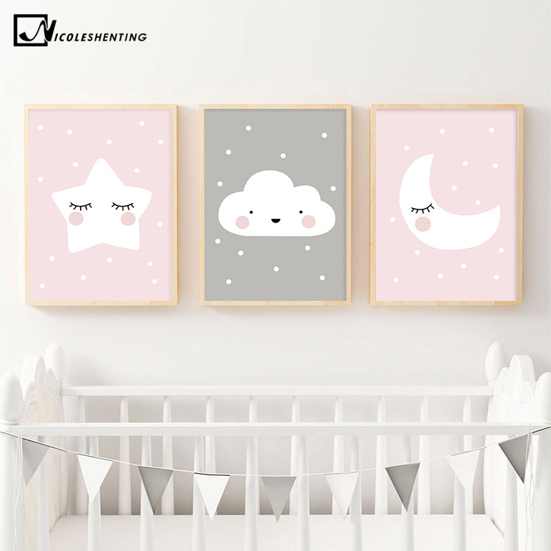 Pink Moon Cloud Star Nursery Child Poster Cute Art Decorative Print Wall Painting Decoration Picture Nordic Kid  Baby Room Decor