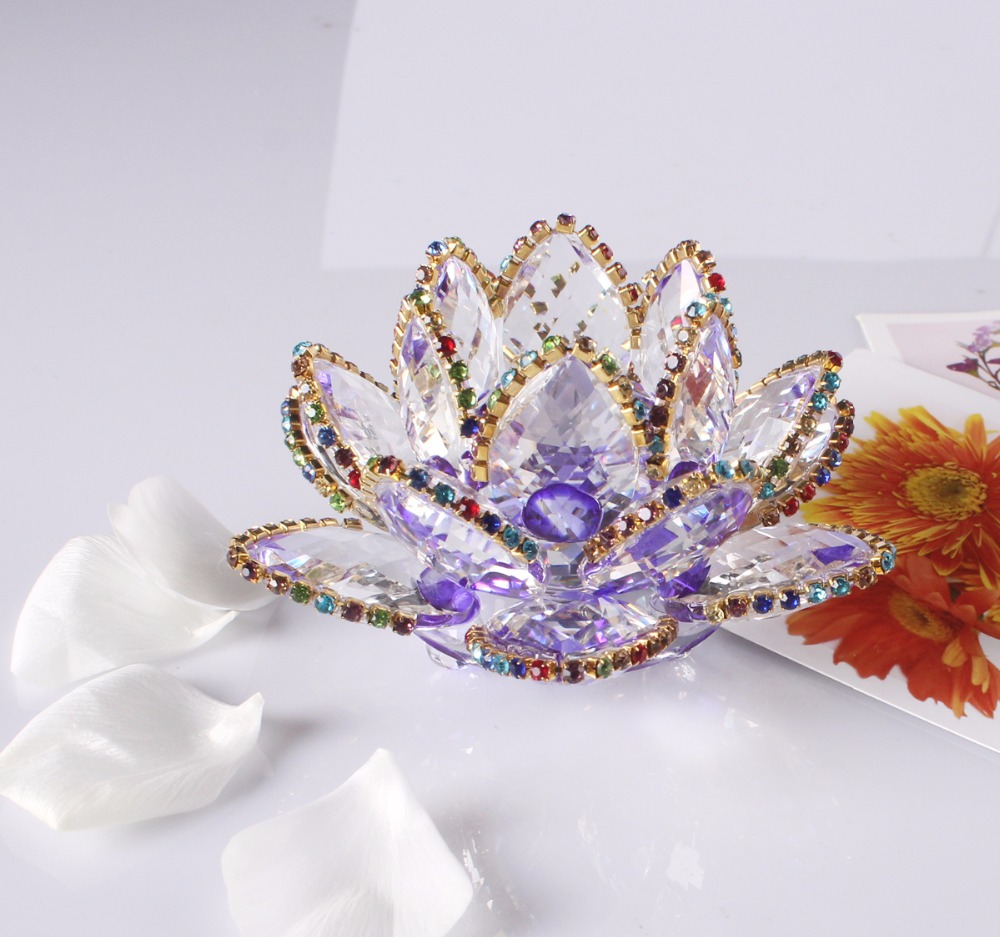 85mm Clear Quartz Crystal Glass Lotus Flower natural stones and minerals Crystals flowers For Home wedding crafts Beautiful Gift ...