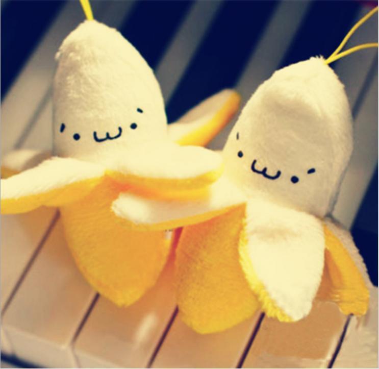 1Pcs Kid Super Cute Banana 7CM Kawaii Toys Plush Stuffed Toy Doll Mini Key Hook Pendant Plush Toy Doll