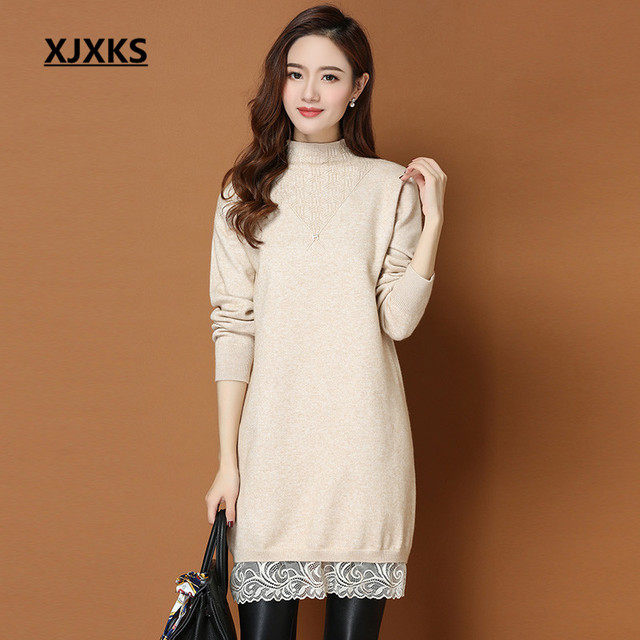 2ccecfbdc0 XJXKS Autumn And Winter Long Sweater Long Sleeve Party Turtleneck Solid  Lace Sweater Women Knitted Sweaters