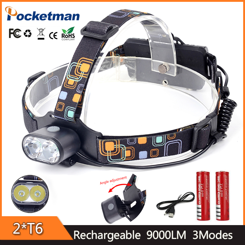 z35 Rechargeable Headlamp, Super Bright , 9000 Lumens Waterproof LED Headlight 3 Modes. for Running, Camping, Hiking and Walking