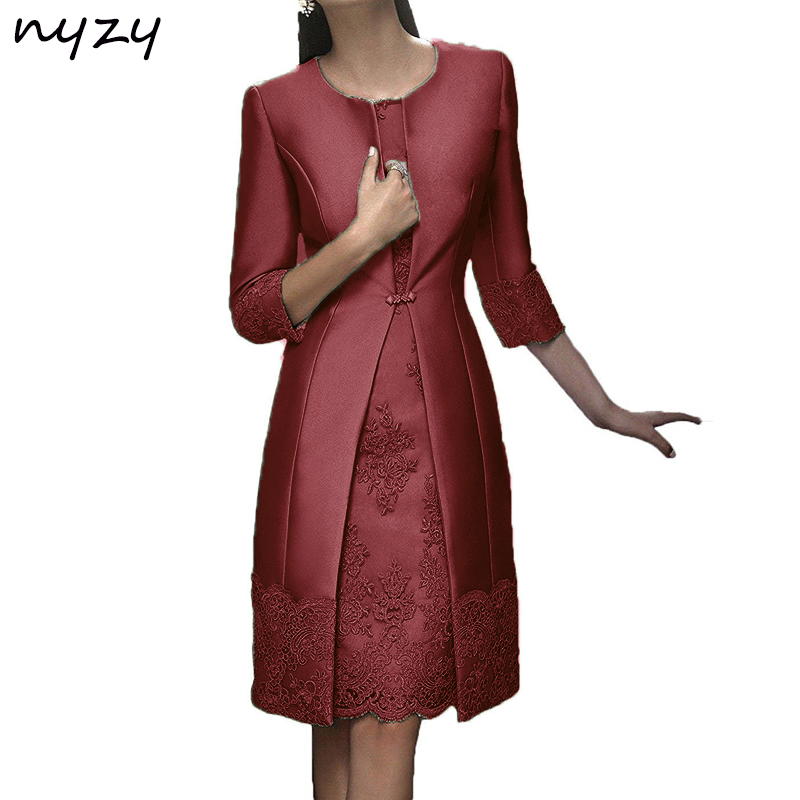 NYZY M22H Real Burgundy Mother Of The Bride Dresses 2 Piece With Jacket Mother Suits Outfits Wedding Party Guest Wear 2019