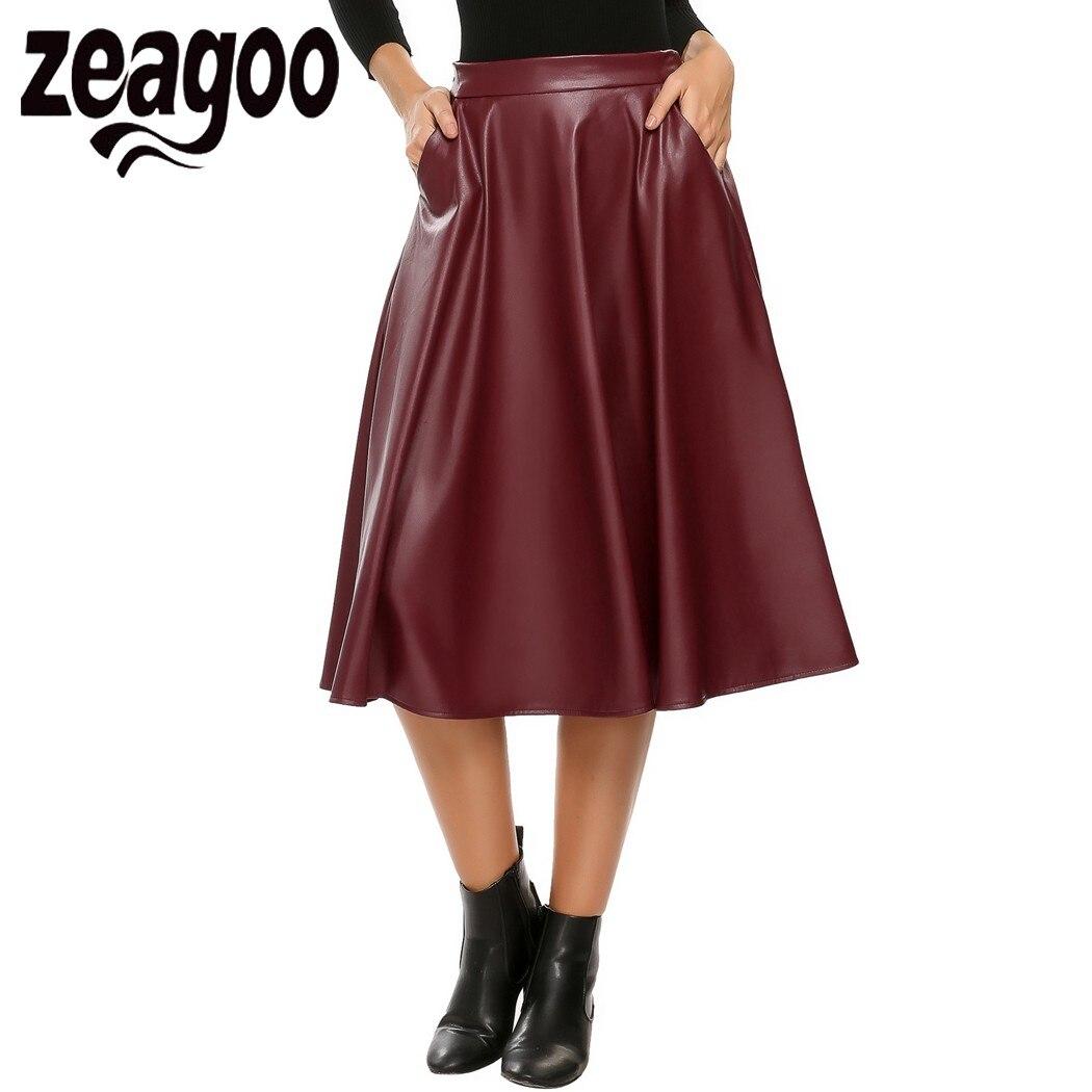 zeagoo 2017 elastic waist synthetic leather calf