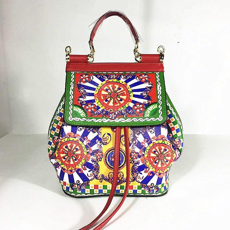 Luxe haut de gamme Design Original en cuir véritable Roman classique fleurs imprimé sacs à dos femmes Famosu italie marque sacs à bandoulière