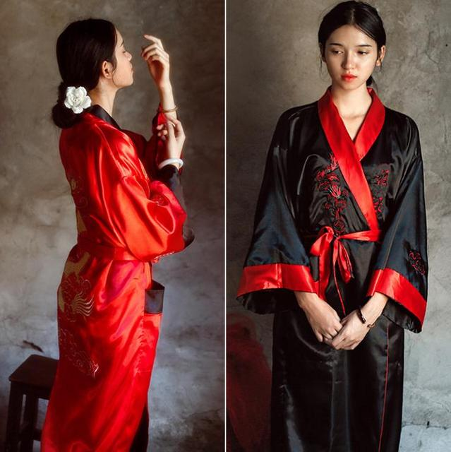 Novelty Reversible Black Red Women Satin Kimono Handmade Embroidery Dragon Nightgown  Robe Gown Two Side Sleepwear
