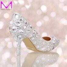 Perfekte Braut Kristall Hochzeit Schuhe Spitz New Design Frauen Pumpt Silber Strass Neue Design Party Prom Heels Big Size
