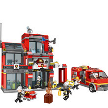 Xingbao 14006 Fire Control Building Blocks Fire Fighting Fire Station Bricks Compatible With LegoINGLYs City Series Toys(China)