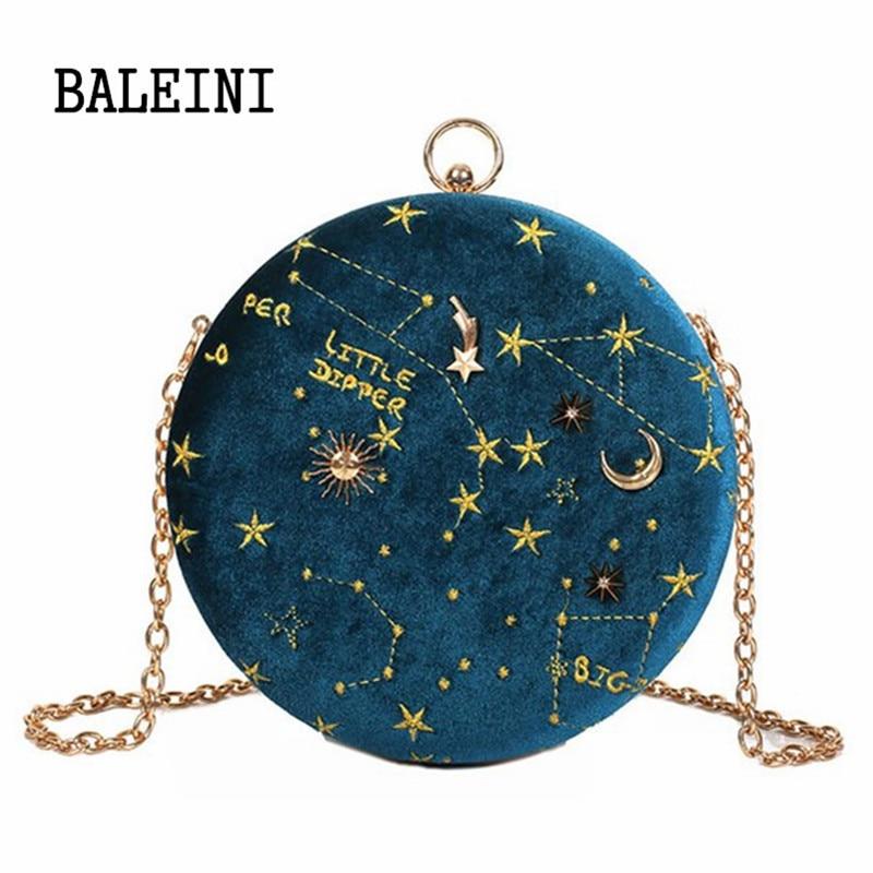 2019 cielo estrellado cielo Circular de gamuza de moda Cadena de bolso de hombro correa de bolso de la mujer, bolsos de mensajero, bolso redondo mujeres bolso
