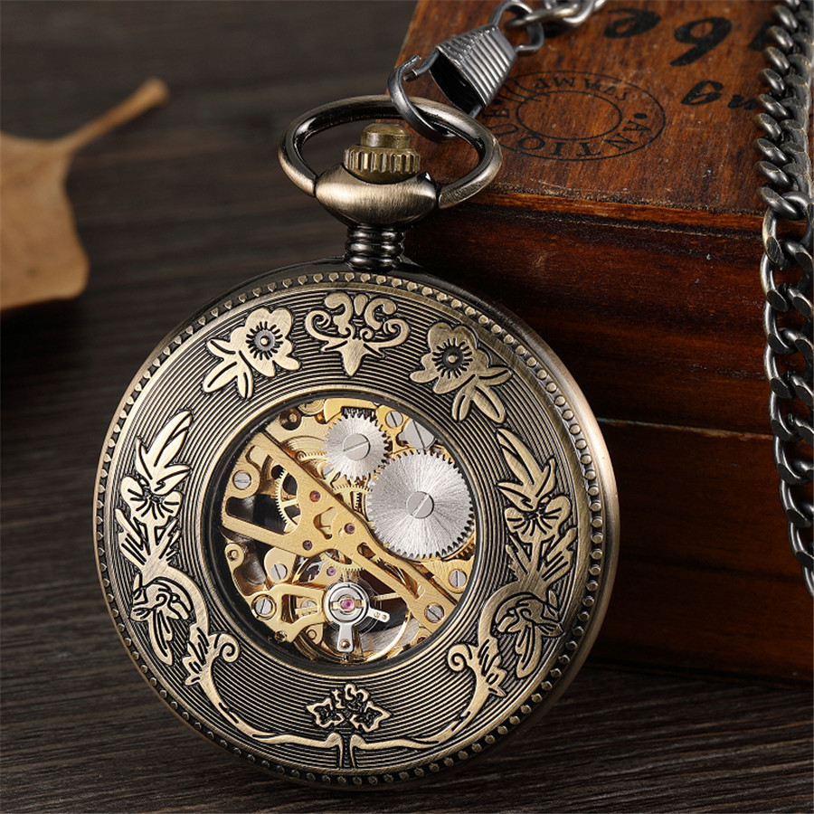 Bronze Hollow Vintage Mechanical Pocket Watch Men Skeleton Carving Steampunk Fob Hand Watch With Chain Necklace Women Men Gift