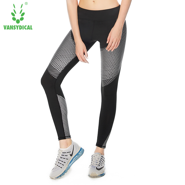 16531c80189c3 VANSYDICAL Women Yoga Leggings Sports Running Pants Sportswear Fitness  Exercise Gym Compression Tights Pants Clothes Reflective