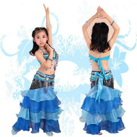 High Quality Kids Fashion Belly Dance Costumes Bra Skirt Belt Children Girls Indian Clothes
