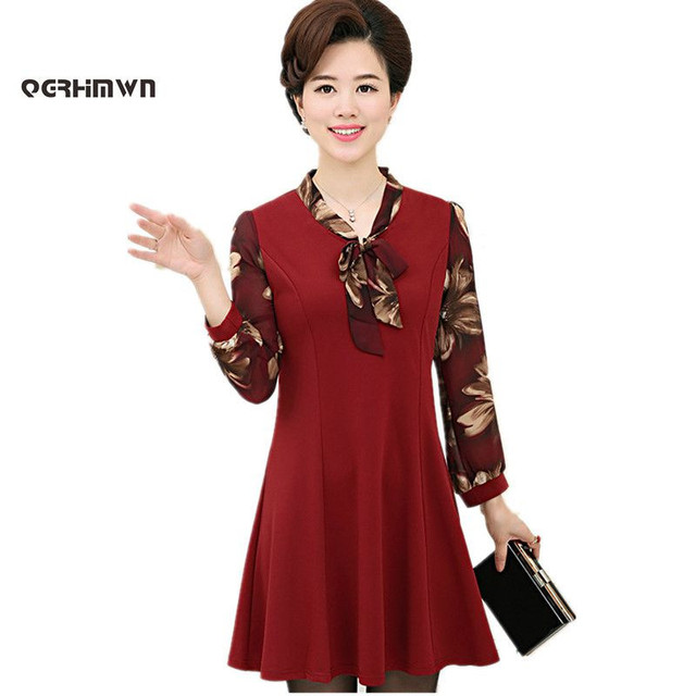 Fall Dress Middle Aged Women 45 55 Years Old Long Sleeve Mother Autumn Spring Quinquagenarian Bow Collar Patchwork Dresses