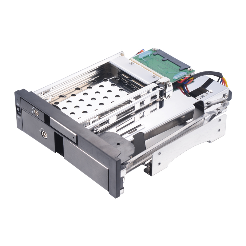 Uneatop ST7224B 2.5+3.5 inch Dual Bay 2-bay SATA HDD Rack Enclosure Black Door 4 bay 2 5 inch internal sata hdd ssd aluminum mobile rack with hot swap support 7mm 9 5mm 15mm hdd ssd enclosure with lock
