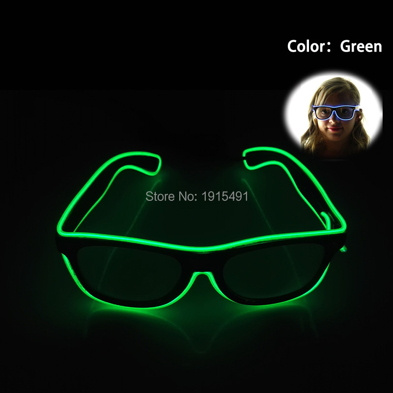 Creative Black Lenses Newest Green Glittery EL Wire Sunglasses Holiday Lighting Colorful Dance of Sparkling Neon Led Sunglasses
