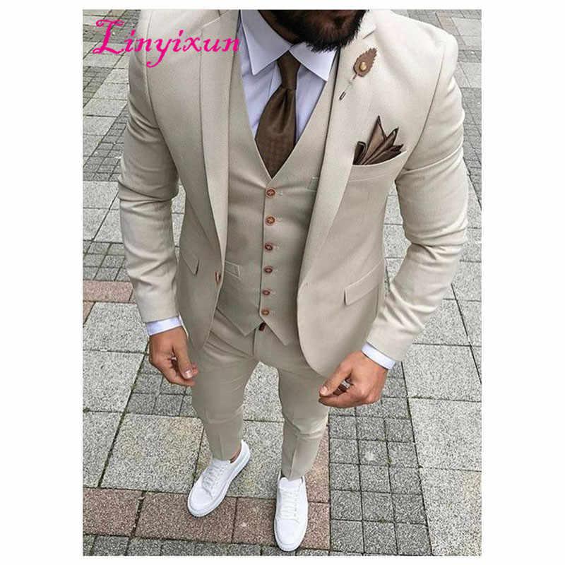 Linyixun 2017 новейший дизайн пальто брюки бежевый мужской костюм смокинг для выпускного вечера Slim Fit 3 шт Жених Стиль Мужские костюмы на заказ пиджак для костюма