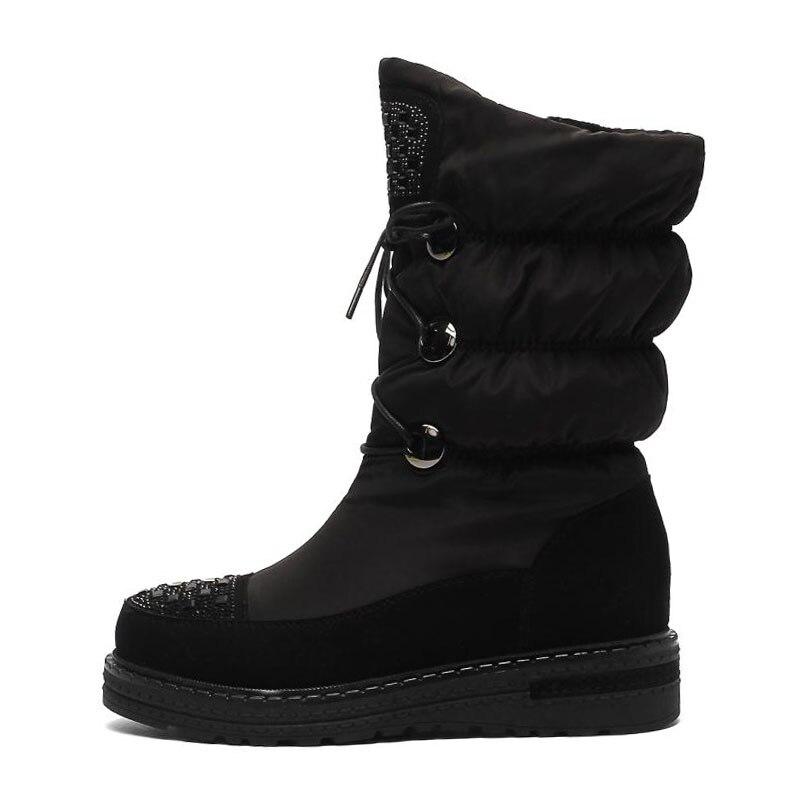 Nieve Fondo Negro Grueso Tamaño Medio Taoffen Moda Invierno Botas Punta Zapatos Redonda Rusia De Caliente 41 34 Las Mujeres vino Tinto Para Plataforma xACa7xn4