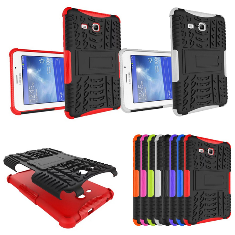 Heavy Duty For Samsung Tab 3 lite T110 Case Armor PC&TPU Shockproof Cover for Samsung Galaxy Tab 3 Lite 7.0'' T110 T111 Cover stylish pc tpu case w rotatable stand for samsung galaxy note 3 n9000 black