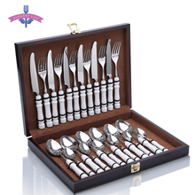 24PCS Cutlery Flatware Set Stainless Steel&Roman Column Tableware Food Set Knife Fork Spoon for Kitchen Home Party Wood Gift Box