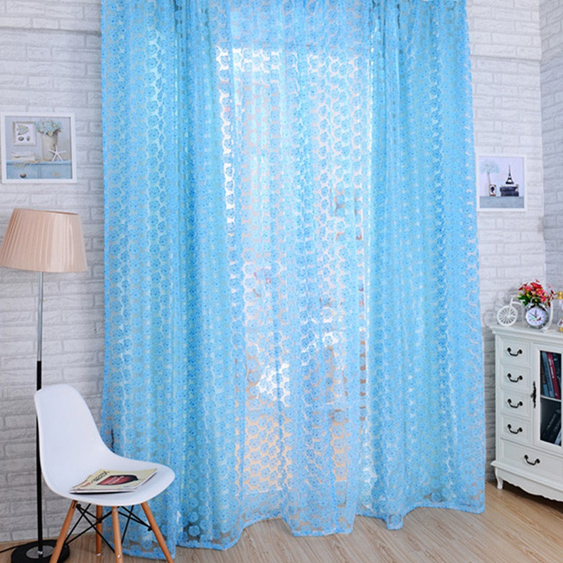 Best Price For Rose Flower Drape Panel Room Curtains Scarf ...