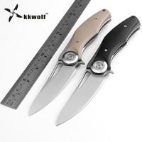 KKWOLF Bear Dark Tactical Folding Knives D2 Blade G10 Handle Camping Survival Pocket Knife Outdoor Hunting