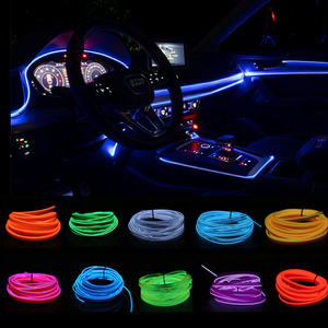 Image 1 - 1M Car LED Interior Led Strip Flexible LED Neon Light Decoration Garland lisence plate Wire Rope Tube Line With USB Driver DIY