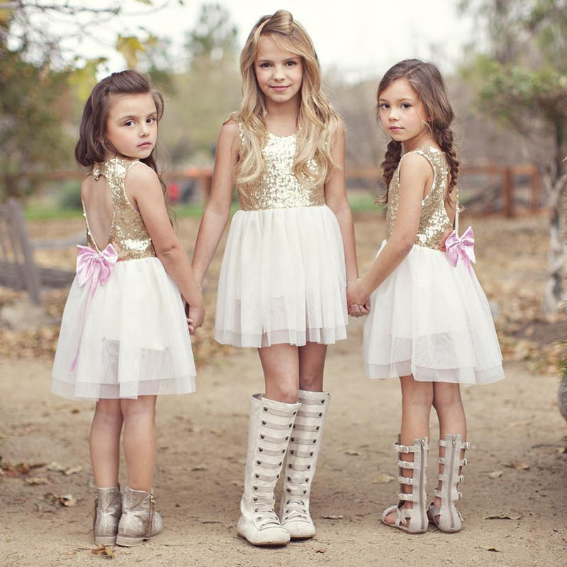 Fashion Kids Summer Clothes Children Girl Sequins Party Cake Dress Toddler Baby Girl Lovely Bows Gold Sequined Dress 3-10Y day dress