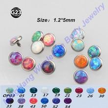 Titanyum G23 Mikro Dermal Çapa 16g * 5mm Opal Üstleri DUDAK Piercing Cilt Diver göbek takısı