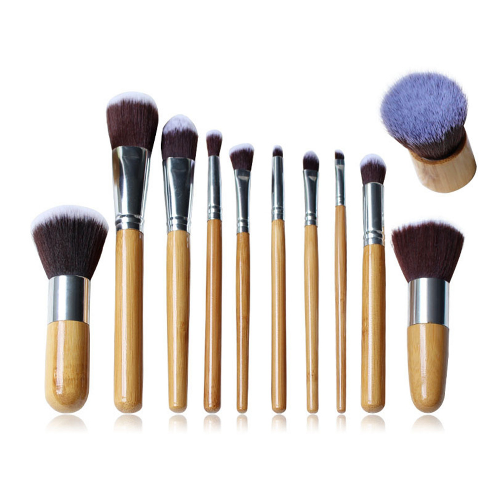 11Pcs Professional Bamboo Handle Makeup Brushes Set Face Eyeshadow Foundation Cosmetic Tools High Quality Salon&Home Beauty
