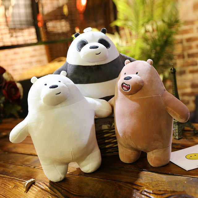 25cm Kawaii We Bare Bears Plush Toy Cartoon Bear Stuffed Grizzly Gray White Bear Panda Doll Kids Love Birthday Gift