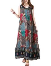 Yfashion Women Retro Bohemia Style Dress Elegant Vest Loose Long Beach