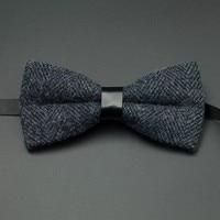 Wool Blue Black Brown Mens Elegant Necktie Striped Adjustable Brief Fashion Bow Tie Cravates Pour Homme