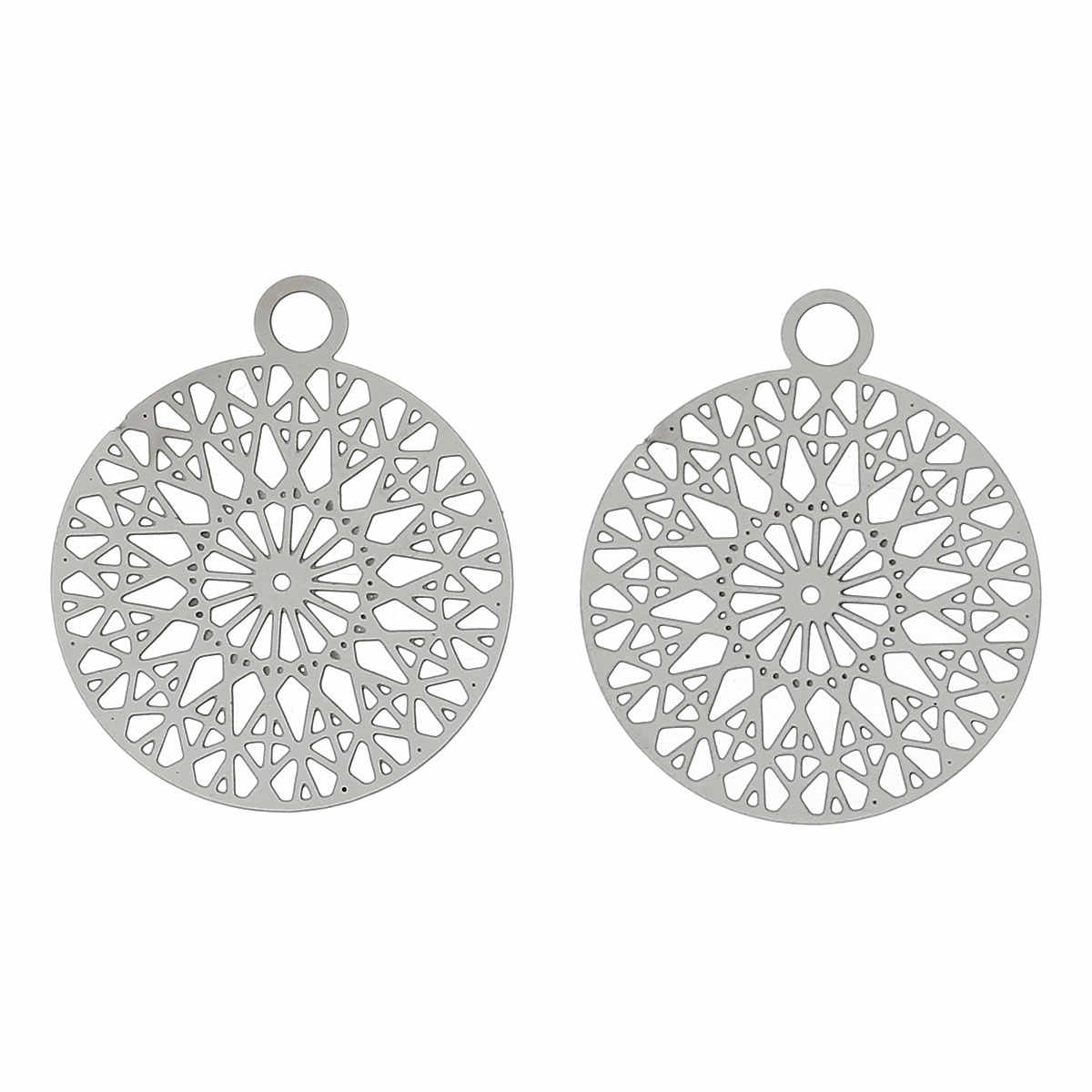 FUNIQUE Hollow Out romb wzór Charms 20 sztuk srebrny Tone ze stali nierdzewnej okrągłe wisiorki dla DIY kobiety i mężczyźni naszyjnik 22x18mm