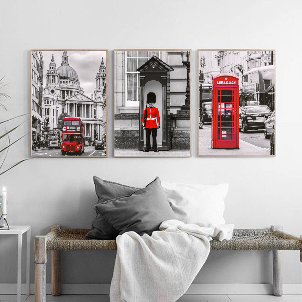 London Red Bus Phone Booth Guards Army Wall Art Canvas Painting Nordic Posters and Prints Wall Pictures for Living Room Decor in Painting Calligraphy from Home Garden