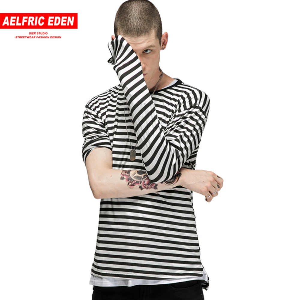 40722b44c Aelfric Eden Men's Fashion Black White T-shirt Casual Striped Long Sleeve T  Shirt Men