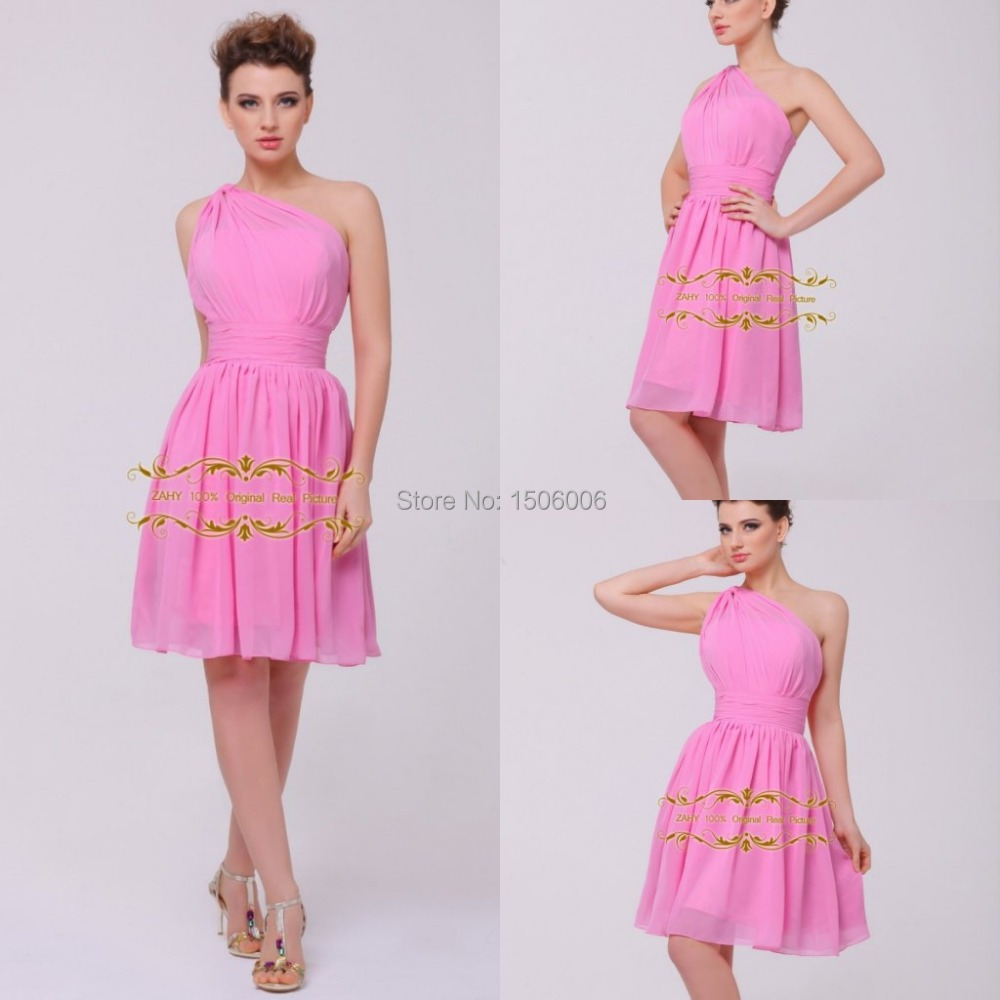 Best Ing One Shoulder Bridesmaid Dresses Knee Length Honor Of Maid Prom Fast Shipping Whl65 In From Weddings