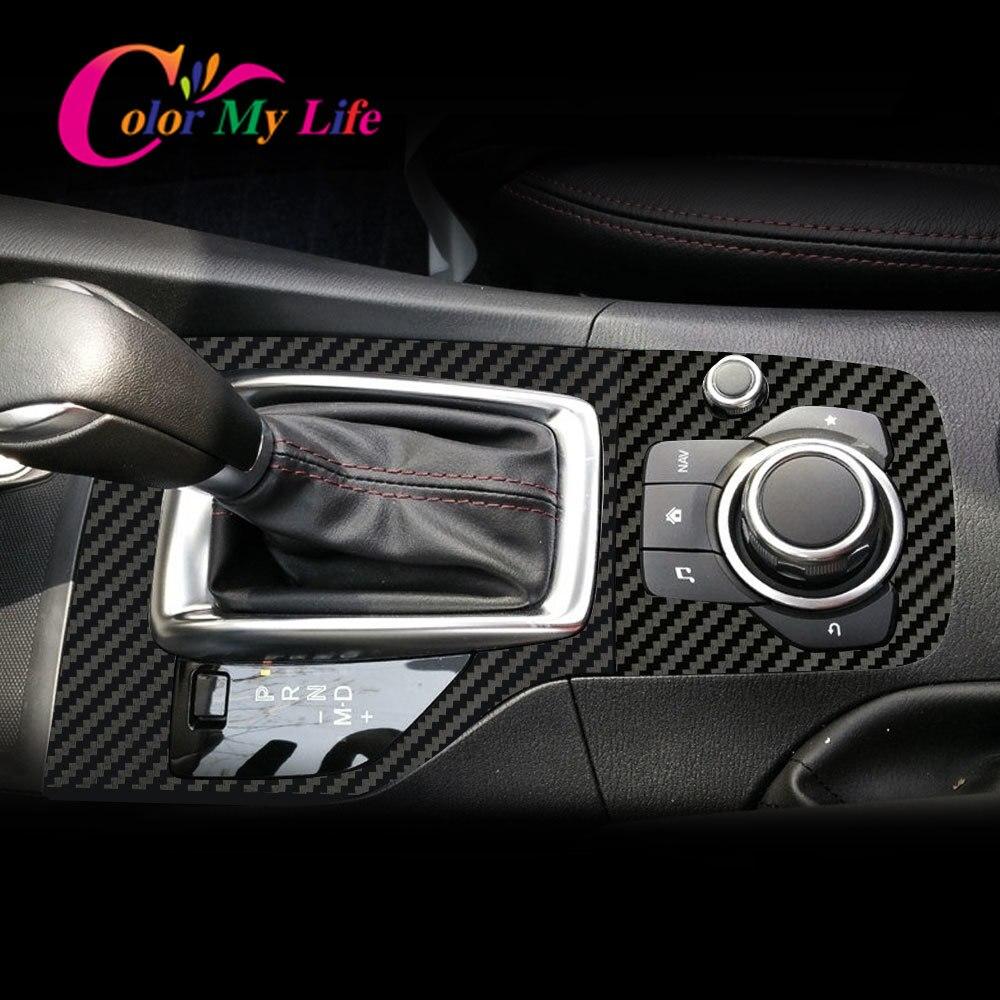 Autocollant de garniture de panneau de pommeau de levier de vitesse intérieur de voiture en Fiber de carbone pour Mazda 3 Axela 2014 2015 2016 2017 2018 2019