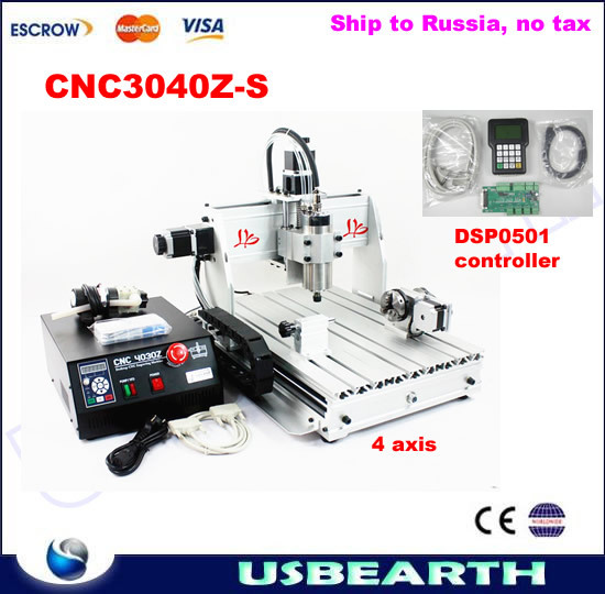 CNC 3040Z-S 4axis,cnc router /Drilling Milling Machine,CNC 3040 engraving machine with DSP0501 controller, free tax to Russia cnc router engraving machine diy 2520 4axis engraving drilling and milling machine with rotary axis no tax to ru