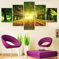 Art Abstract Framed Large Framed Sunshine Trees canvas decoration 5 pieces