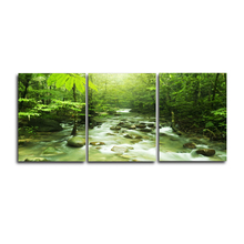 Laeacco Canvas Calligraphy Painting 3 Panel Spring Green Forest Posters and Prints Wall Art Living Room Home Decoration