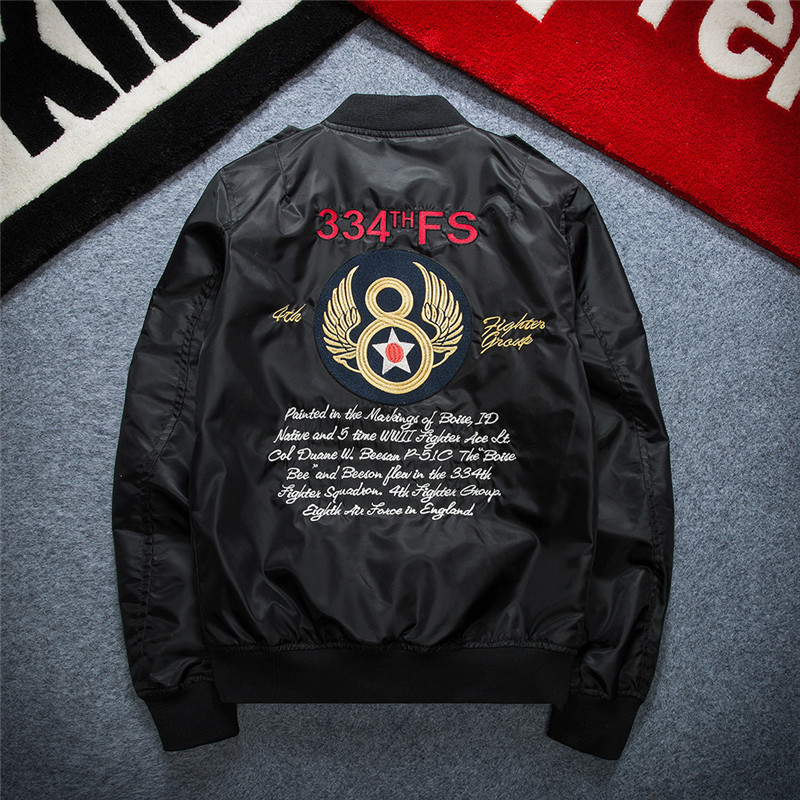Men Jacket Streetwear Hip Hop Pilot Army Military Baseball Thin Coat Jacket Man European Design Embroidery Cartoon Bomber Jacket