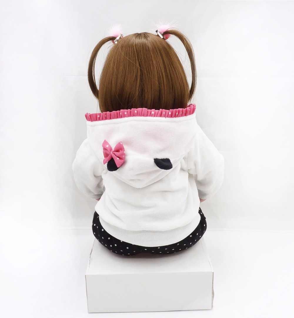新しい 47 センチメートルソフト布ボディ現実的な新生児ガールパンダ服を与える最高ギフトシリコーンベベリボーン人形